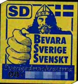 Early campaign sticker using the Bevara Sverig...