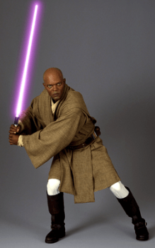 Samuel L. Jackson as Mace Windu wielding a purple lightsabre
