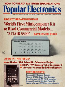 Popular Electronics cover featuring the Altair 8800