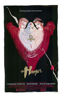Film poster for The Hunger, a key influence in...