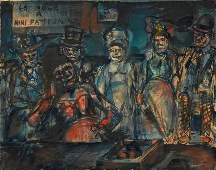 File:Georges Rouault, 1905, Jeu de massacre (Slaughter), (Forains, Cabotins, Pitres), (La noce à Nini patte en l'air), watercolor, gouache, India ink and pastel on paper, 53 x 67 cm, Centre Georges-Pompidou, Paris.jpg