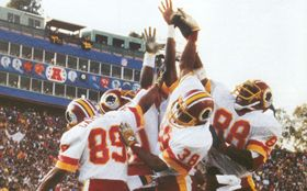 The Fun Bunch celebrating in the end zone afte...