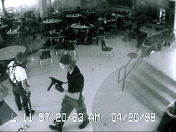 A picture of Dylan Klebold and Eric Harris from the security footage in the Columbine cafeteria.