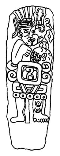 A pre-columbian Chatino stela depicting a nagu...