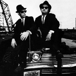 Elwood and Jake Blues and the Bluesmobile