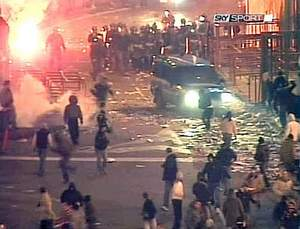 SKY Sport images showed the violent clashes