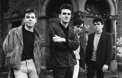 The Smiths in 1985. Left to right: Andy Rourke...