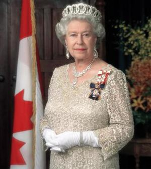 Queen Elizabeth II wearing the Sovereign's ins...