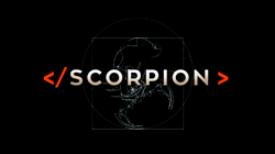 """The series title """"Scorpion"""" in white letters on a black background"""