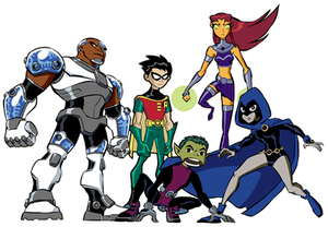 The Teen Titans from left to right: Cyborg, Ro...