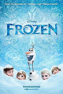 Theatrical poster for the Disney movie Frozen, opening Thanksgiving 2013