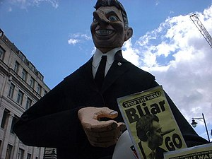 Effigy of Tony Blair from a 2003 anti-war demo...