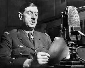 General de Gaulle speaking on the BBC during t...