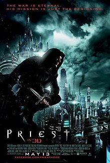 Paul Bettany in character, wearing priestly garb and having a Christian cross tattooed on his face, stands against the background of a futuristic city.