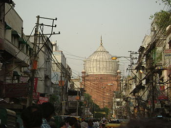 Jama Masjid as seen from the streets of Old Delhi