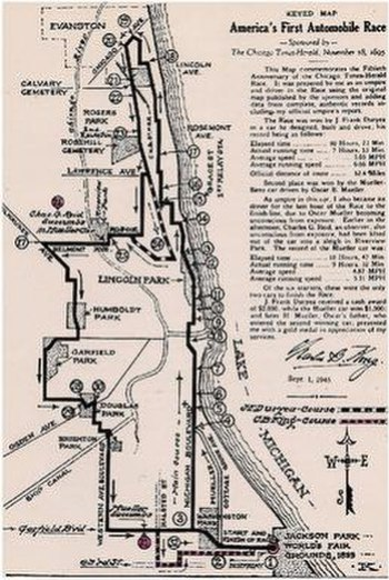 America's First Automobile Race map