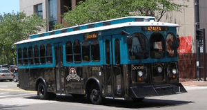 A downtown Jacksonville free Trolley-like bus.