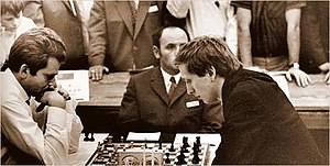 Boris Spassky and Bobby Fischer at the 1970 ch...
