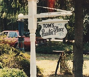 Sign, hanging, proprietor, small