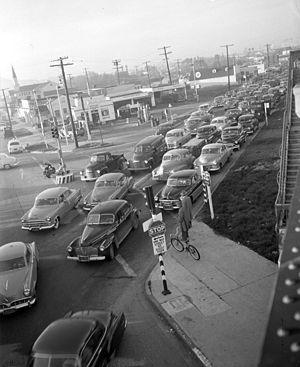 Traffic jam at Venice Boulevard and La Cienega...