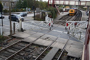 Ramsbottom level crossing being opened to road...