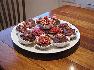 Home-made chocolate cupcakes Self-raising flou...