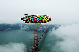 Soaring Dreams airship over Golden Gate Bridge
