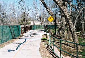 A bicycle trail in Granbury, Texas