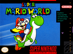 A black box with an image of a cartoon man known as Mario with blue overalls, a yellow cape, red hat and red shirt riding a green cartoon dinosaur