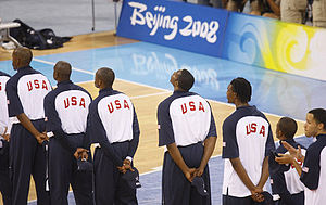 Members of the U.S. Men's Olympic Basketball T...