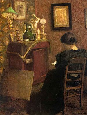 Woman Reading, Oil on canvas. In the Cone coll...