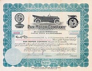 Stock certificate for Pan Motorcar Company