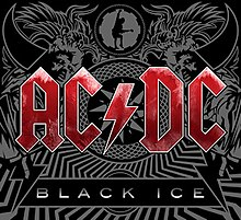 """In the forefront, the logo for AC/DC in red letters, and under it a quadrilateral with """"Black Ice"""" in white letters. In the background, a mosaic with tribal motifs, drawings of horns, wings, a man in a straitjacket, and a guitarist inside a cog."""