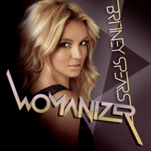 Upper bust of a blonde woman. She looks into the camera over her right shoulder. Her mouth is open. She is wearing a black top with small holes. The background is composed by geometric figures in different shades of purple. In an upside down vertical direction, the words