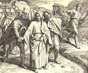 Shimei throwing stones at David outside of Bahurim