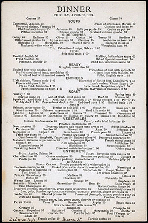 Dinner menu from Water St./ Beaver St. locatio...