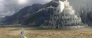 Gandalf approaching Minas Tirith in the film T...