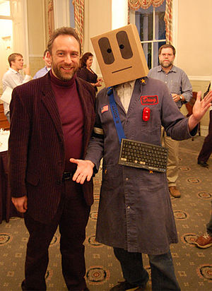 Slobot with wikipedia founder jimmy wales