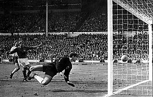 Geoff Hurst's controversial second goal during...
