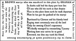 Acrostic poem engraved on Brown's gravestone.