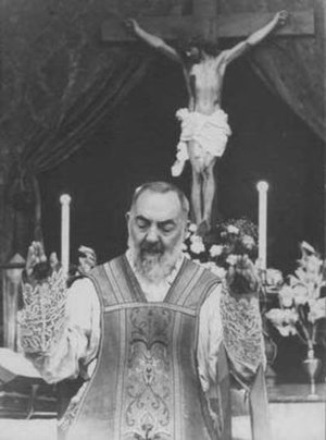 Padre Pio celebrating mass. His Mass would oft...