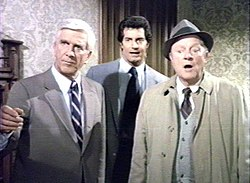 Drebin (Leslie Nielsen), Norberg (Peter Lupus) and Hocken (Alan North), the main characters of Police Squad!