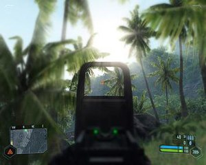 An in-game screenshot of Crysis, showing the g...