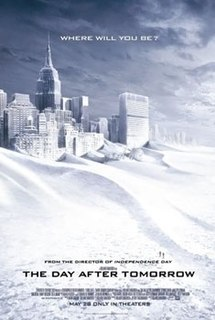 Film poster of a snow-covered New York City skyline