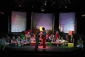 A production of Godspell performed on a 3/4 th...