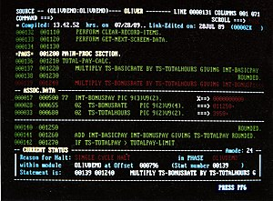 Screenshot of OLIVER - (CICS Interactive debug...