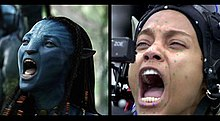 Gambar kiri menunjukkan kucing biru seperti alien Neyitiri berteriak. Citra yang tepat menunjukkan aktris yang menggambarkan dirinya, Zoë Saldaña, dengan menangkap gerakan-titik di wajahnya dan sebuah kamera kecil di depan matanya.