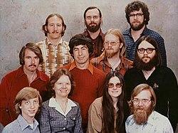 Microsoft staff photo from December 7, 1978. Gates on bottom row, far left.
