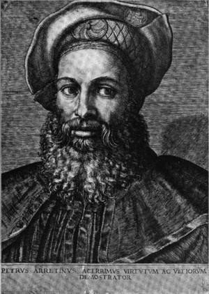 Image of engraving of Pietro Aretino by Marcan...