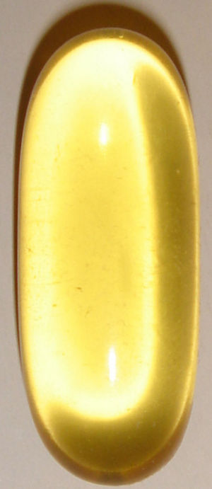 A typical fish oil softgel; not actual size